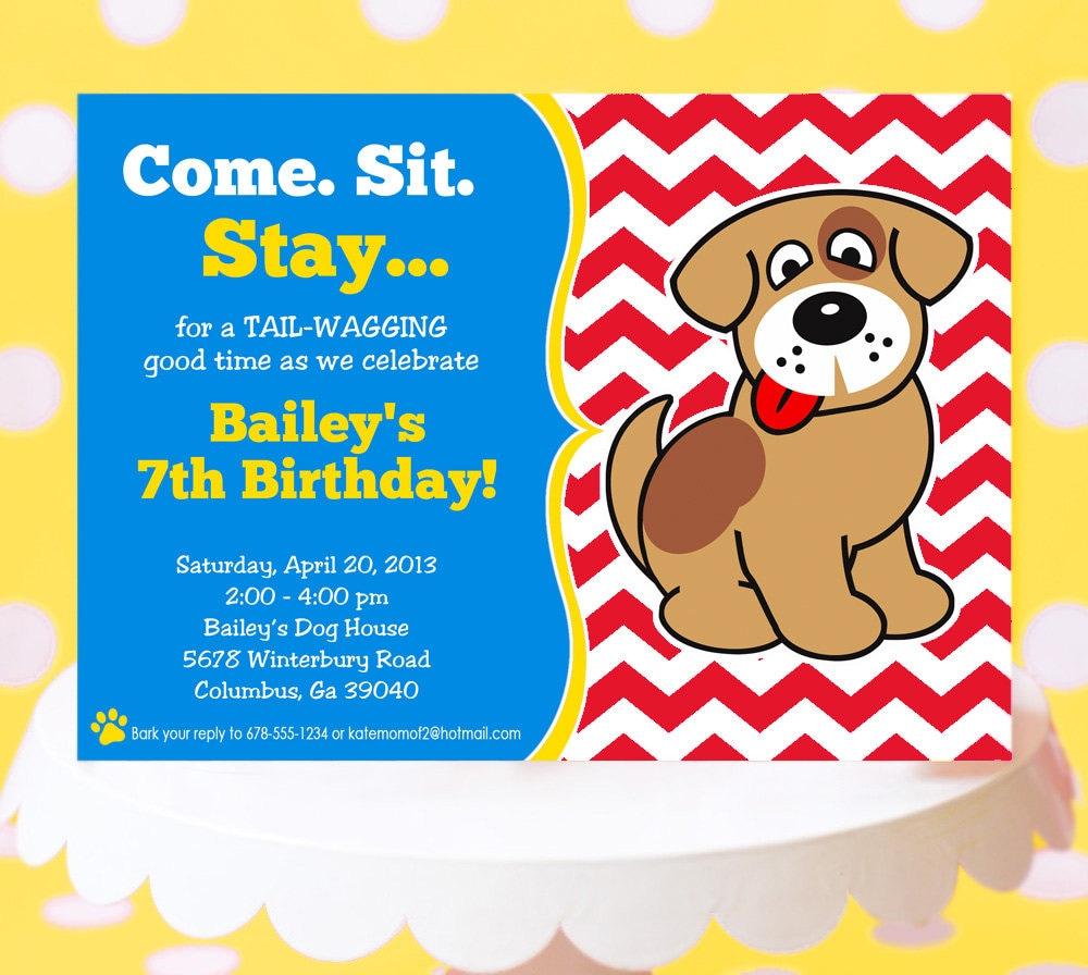Puppy Party Invitation Puppy Birthday Invitation Printable – Puppy Dog Birthday Invitations