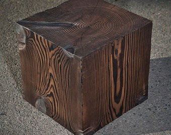 "16"" Solid Wood Cube Table"