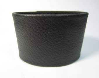Leather Wristband Men's Black Leather Cuff Bracelet Deerskin Ladies