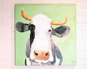 Cow Painting 24x24 Canvas Art Mint Green and Orange Betsy the Cow