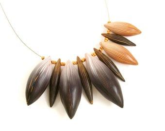 "Large statement necklace ""Spikes"" chunky asymmetrical polymer clay necklace in gold, white and black, ombre stripes ooak"