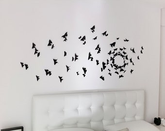 Gossip Girl Wall Art, Black Butterfly Wall Decor, 3D Wall butterflies, Black Butterflies, Black Wall Decals