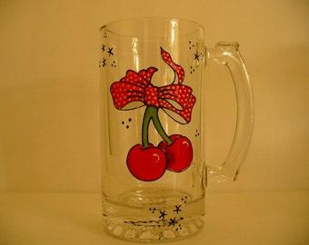 Hand painted beer mug: Old shool Cherries