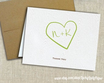 Carved Heart and Initials Faux Bois Embossed Thank You Cards by Luckyladypaper - CUSTOM CARD ORDER