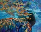 "Fine art Print of man swimming Underwater art Man inbetween // Print of original  Painting // 12"" x 16"""
