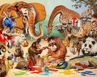 Monkeyangelo wildlife original large 40x60 oils on canvas painting by RUSTY RUST / A-57