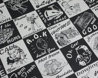 Vintage Wallpaper Roll Black And White Retro Kitchen