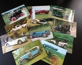 Vintage Car Postcards - 10 old cars, 1 fire truck, Rolls Royce, Ford Model T, Bugatti, Cadillac and more