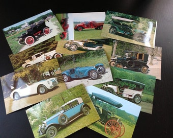 15 Vintage Car Postcards - 14 old cars, 1 fire truck, Rolls Royce, Ford Model T, Bugatti, Cadillac and more