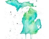5x7 or 8.5x11 - Michigan Love