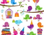 Party Birds Clipart Clip Art, Birthday Party Celebration Birds Clipart Clip Art Vectors - Commercial and Personal