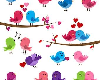 Valentine Birds Clipart Clip Art, Love Birds Lovebirds Clipart Clip Art - Commercial and Personal