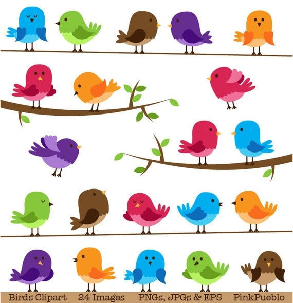 birds clipart clip art commercial and personal use rh etsy com clipart birds singing clipart birds singing