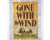 Gone With The Wind Book Cover on a Vintage Dictionary Page
