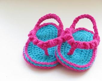 Crochet Pattern, Baby Flip Flops or Thongs for Girls, INSTANT DOWNLOAD, Crochet Pattern in 4 sizes pdf pattern
