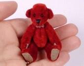 Miniature Artist Bear, Red, Swarovski Crystals, 6cm - 2 3/8 inches by VonneBears