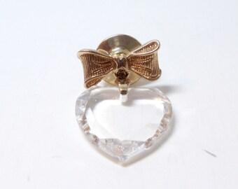 Award Pin- 1982 Avon Brooch- Lead Crystal Brooch- Dangle Heart Brooch- Crystal Heart- Cut Glass Brooch- Lapel Pin- 1980 Brooch