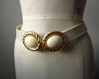 1980s MiMi Di N Belt White and Gold Large Double Buckle with Adjustable Faux Leather Belt Faux Snake White Belt