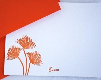 Personalized Letterpress Stationery Wispy Wildlflowers Tangerine Orange