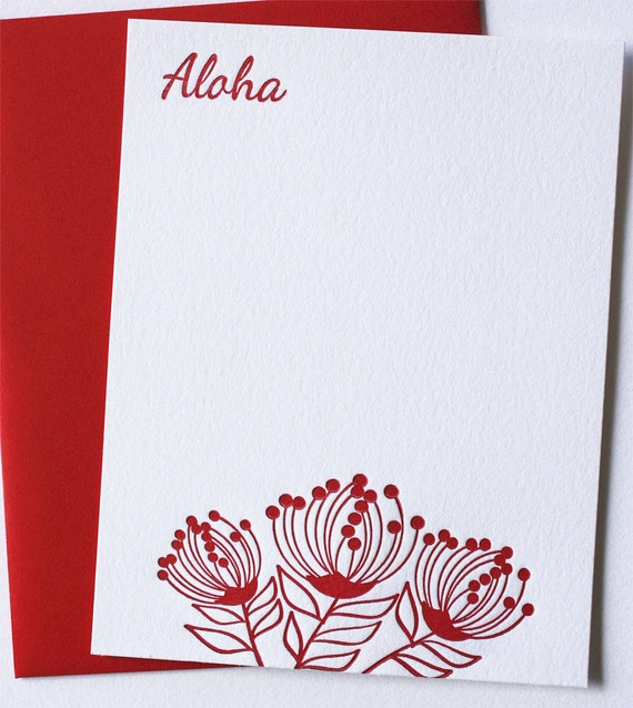 Letterpress Cards Lehua Blossoms with Aloha Set Ruby Red
