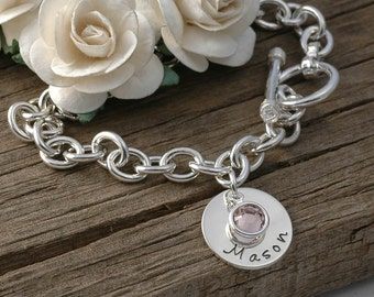 Personalized name Charm bracelet with birthstones  - Mom or Grandma
