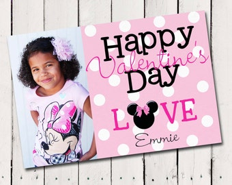 Minnie Mouse Valentine card Custom Printable