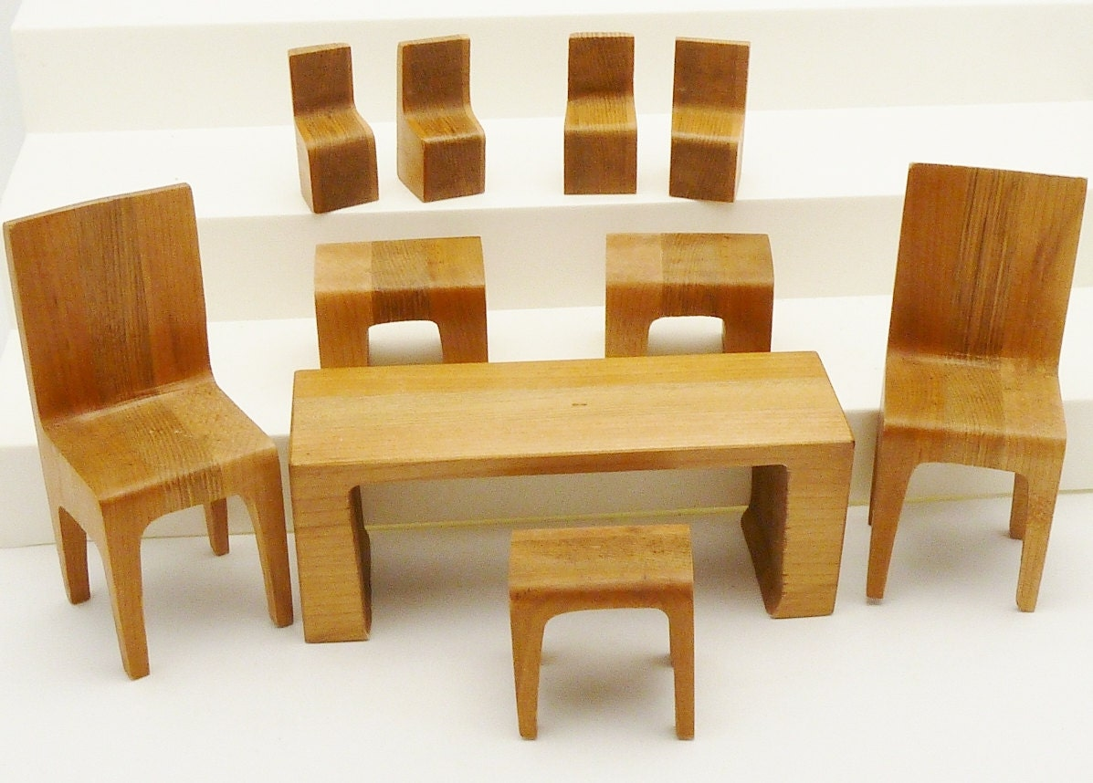 Miniature Furniture Puzzle Table Chairs Wood Block 10 Pieces