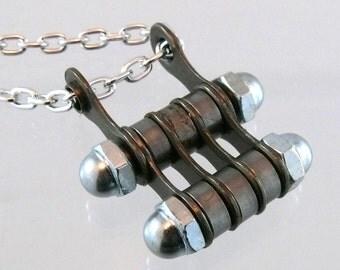 cycling jewelry, bicycle chain hardware necklace bike jewelry, fixie necklace