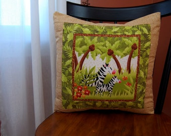 Zebra Jungle Pillow, Children's Bedding, Safari Animals