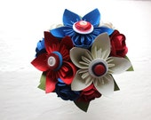 Paper Flower Bouquet, Toss Bouquet, Wedding, Red, White and Blue, Kusudama, Rose