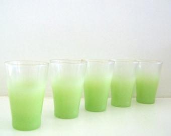 Vintage Blendo Juice Glasses Mid Century Apple Green