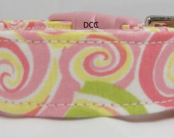 Dog Collar Swirls Pink Green Yellow White Swirls Fun Adjustable Dogs Collars D Ring Choose Size Accessories Pet Pets Summer Spring Modern