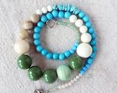 Springtime Bead Necklace Turquoise Chips Raku Vintage Beads