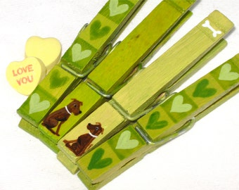 TINY DOGS in LOVE clothespins hand painted magnetic pegs green