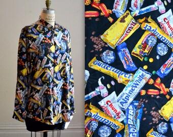 90s Candy Chocolate Print Nicole Miller Silk Shirt Size Medium Large with Original Tags
