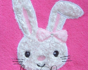 Easter Bunny with floppy ear applique design - machine embroidery design- Many formats - INSTANT DOWNLOAD