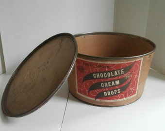 Chocolate Cream Drops Tub Lid Rodda Candy Lancaster Pa Circa 1930s