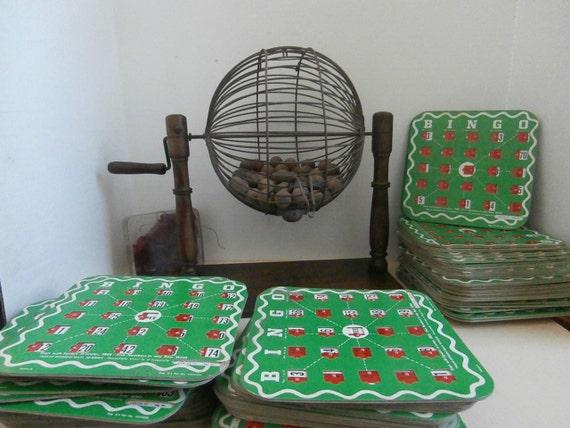 Antique Wooden Bingo Cage And 93 Cards Circa 1920s