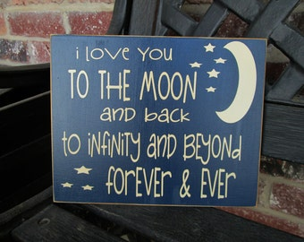Boys room decor--I love you to the moon and back, Infinity and beyond