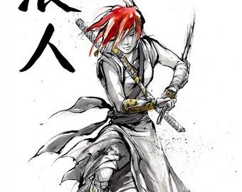 Print 8x10 RONIN girl drawing sword Japanese Calligraphy