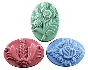 Floral Bouquet Soap Set 3 Flower Designs Bars Handcrafted Glycerin U Pick Color & Scents