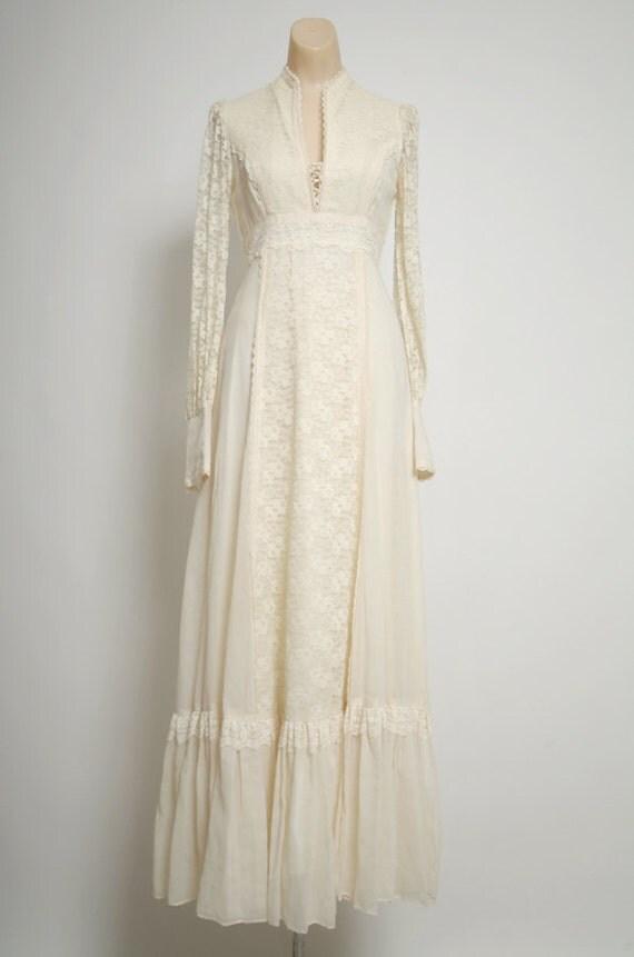 Vintage 60s 70s Gunne Sax Dress Buttercream Long Dress