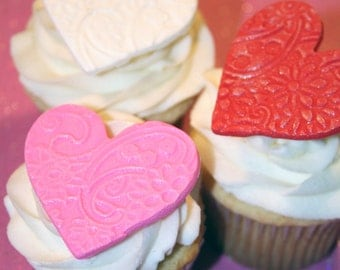 Fondant cupcake toppers Hearts Valentines Day Wedding Love
