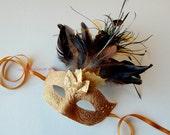 MASK- Golden Featherfall - masquerade mask, Mardi Gras,ballroom, fairy,Venetian, Halloween