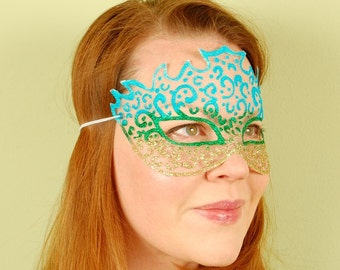SHEER MASK- Turquoise, Green and Gold Kabuki- masquerade mask, Mardi Gras, ballroom, fairy, Venetian, Halloween, tattoo