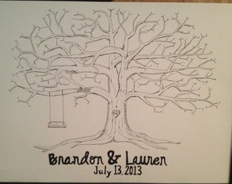 Wedding Guestbook Fingerprint Tree (large)