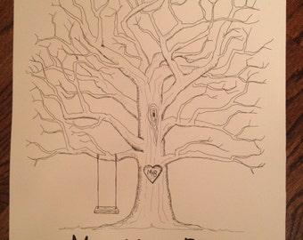 Wedding Guestbook Fingerprint Tree (Medium)