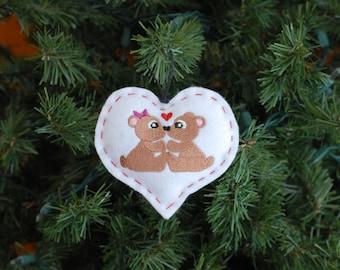 Heart Felt Ornament with Two Bears