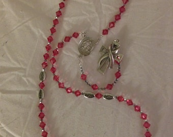 swarovski and Silver Breast Cancer Awareness Rosary