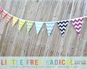 12 Flag Rainbow Chevron Fabric Pennant Bunting Banner -   great for birthday party decor, nursery, playroom, photo prop